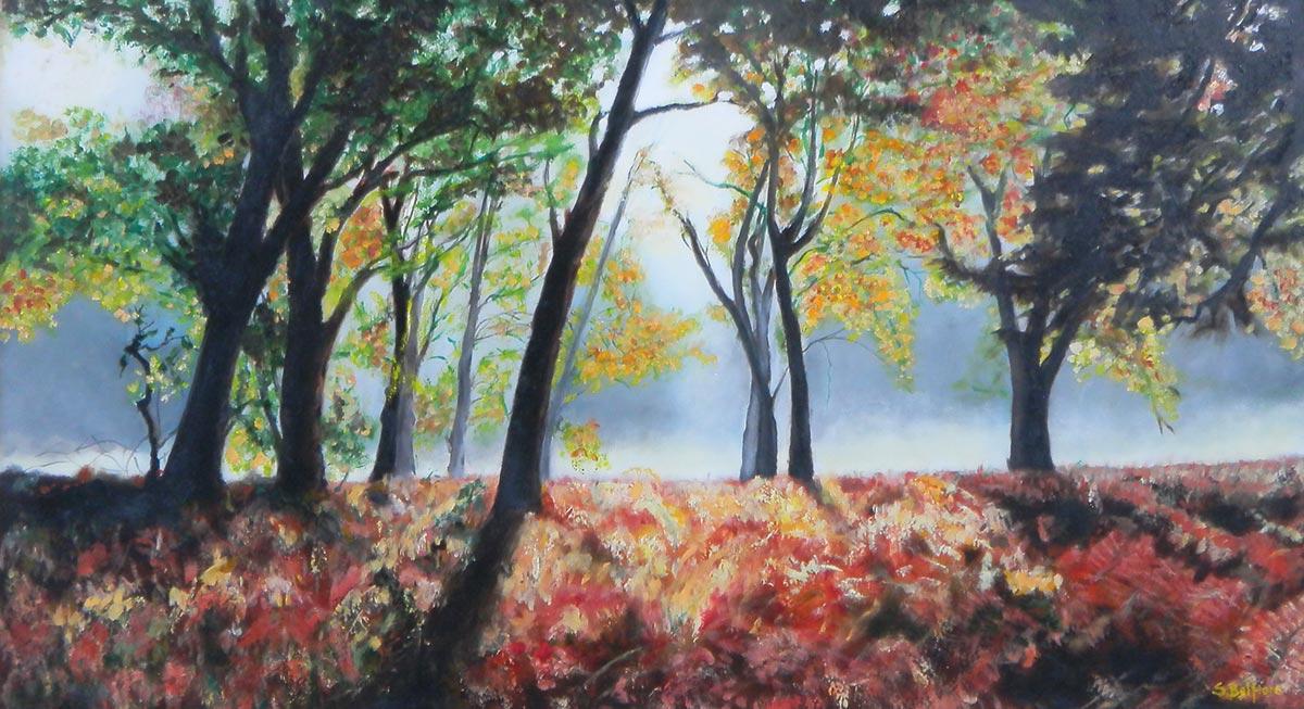 Alba nel bosco - Dipinto ad olio