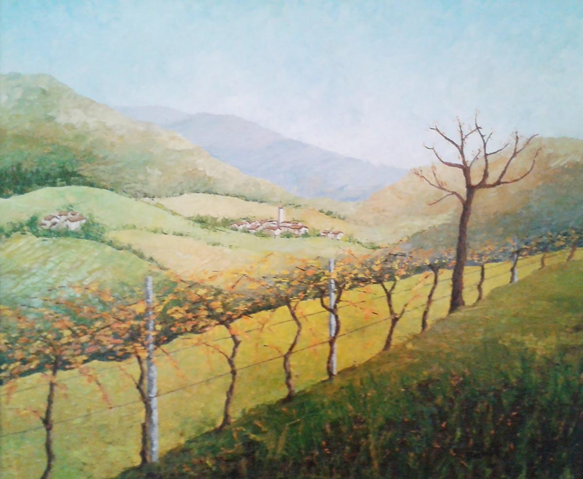 Colline verso Asolo - Dipinto ad olio con spatola - cm 50 x 60