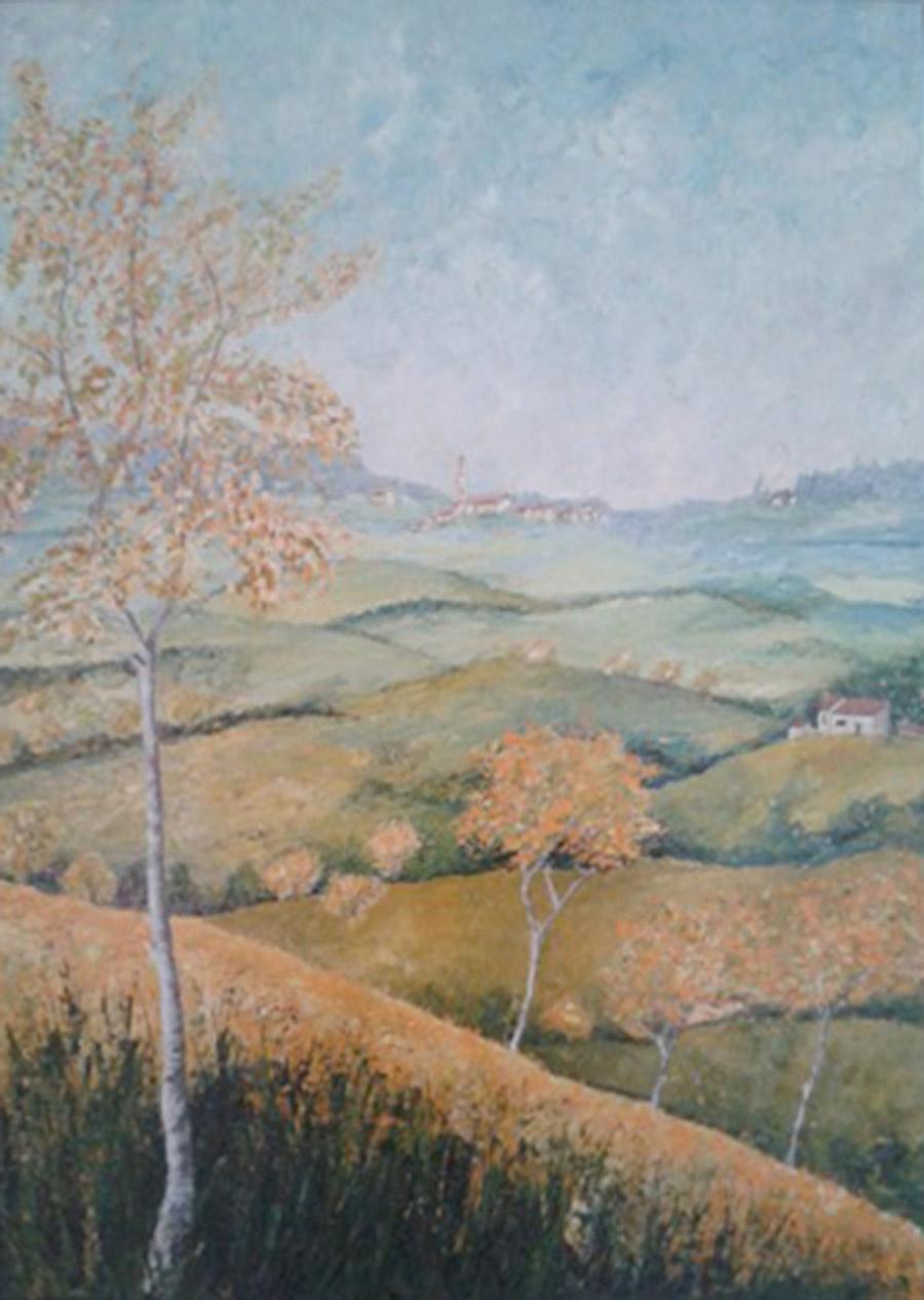 Paesaggio tra le colline - Dipinto ad olio con spatola - cm 50 x 70