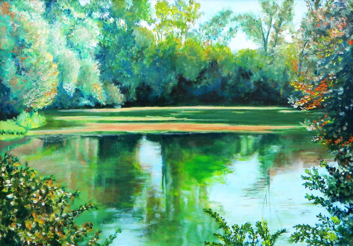 Il fiume Brenta a Tezze sul Brenta - Dipinto ad olio
