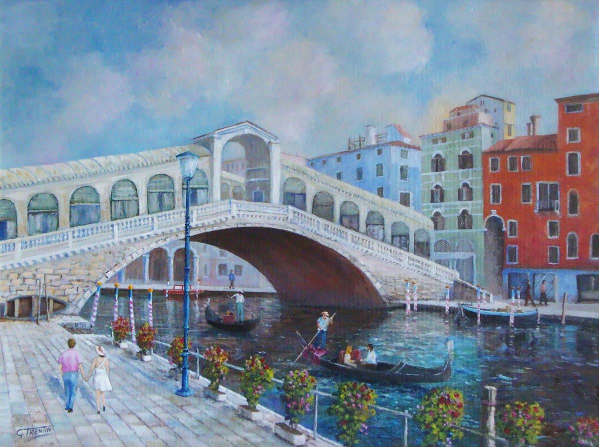 Ponte di Rialto - Venezia - Dipinto ad olio