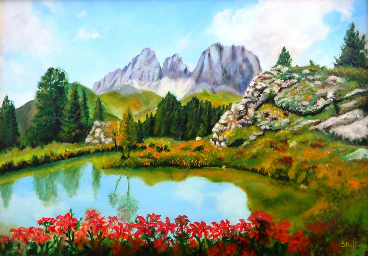 Primavera a passo Pordoi - Dipinto ad olio