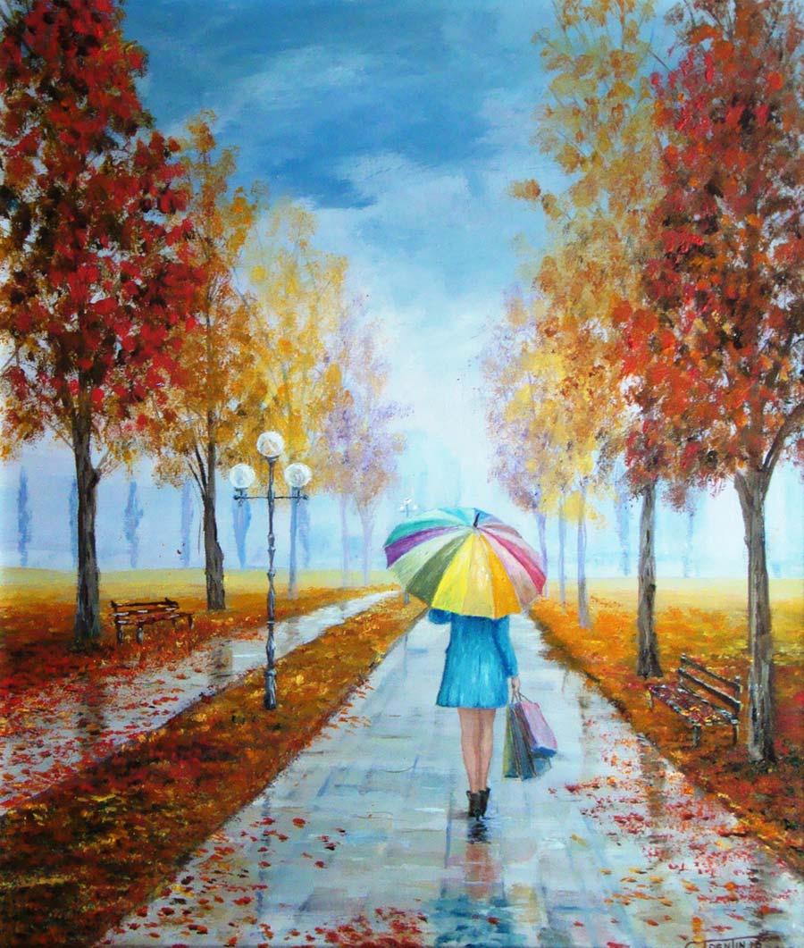Sotto la pioggia - Dipinto ad olio